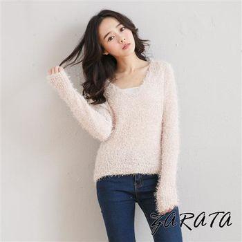 【ZARATA】柔軟毛海交織V領素色毛衣(米粉)