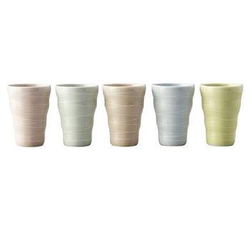 日本 MARUSAN 美濃燒手作彩虹陶瓷杯組 - 大(5入一組)