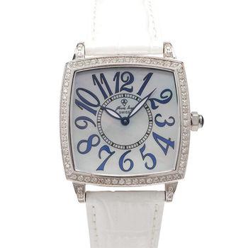 JL  爵儷數字鑽框腕錶 (白)