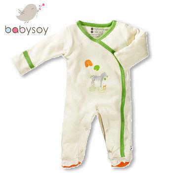 美國 Babysoy   有機棉開襟式長袖袖口反折包腳連身衣500 - 綠邊斑馬