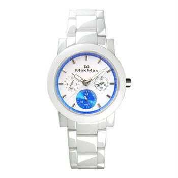 【Max Max】純真時光 三眼優雅陶瓷腕錶-藍X白(MAS50803J-W3)