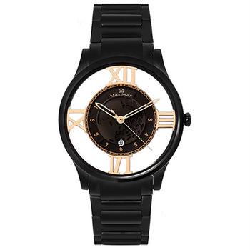 【Max Max】徜徉星球 絕美鏤空時尚腕錶-黑/38mm (MAS7010-1)