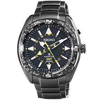 SEIKO 日系精工人動電能GMT兩地時間腕錶- IP黑 / SUN047P1