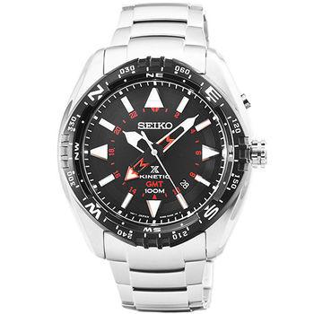 SEIKO 日系精工人動電能GMT兩地時間腕錶-黑 / SUN049P1