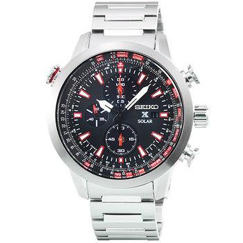 SEIKO 精工 PROSPEX 太陽能鋼帶計時錶-黑 / SSC349P1