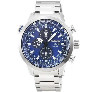 SEIKO 精工 PROSPEX 太陽能鋼帶計時錶-深藍 / SSC347P1