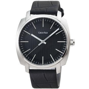 CK Calvin Klein Highline 凱文克萊皮帶錶-黑色 / K5M311C1