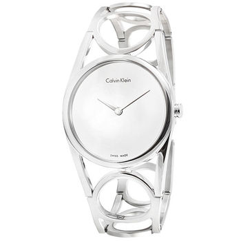 CK Calvin Klein Round 時尚鏤空手環錶-銀面 / K5U2M146