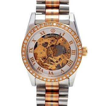 JL 爵儷羅馬數字鑽石鑲嵌男錶(金)