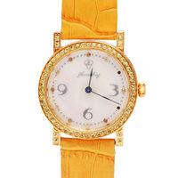 JL 爵儷天然珍珠母貝錶盤黃寶石鑲嵌牛皮腕錶 #40 黃色)