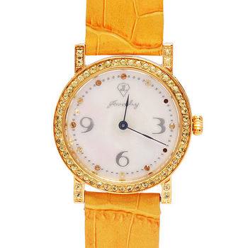 JL 爵儷天然珍珠母貝錶盤黃寶石鑲嵌牛皮腕錶 (黃色)