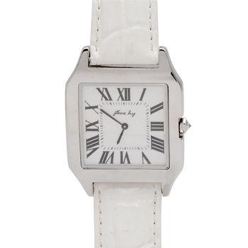JL 星橋羅馬數字H錶面真鑽鑲嵌牛皮腕錶 (象牙白)
