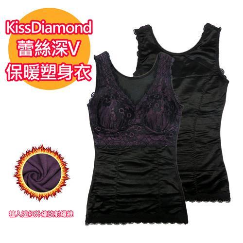 【KissDiamond】蕾絲深v保暖塑身衣-H153-黑色(布料植入遠紅外線放射纖維)