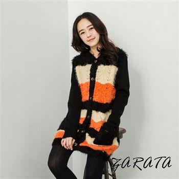 【ZARATA】針織毛海雙口袋針織長版外套(黑色)