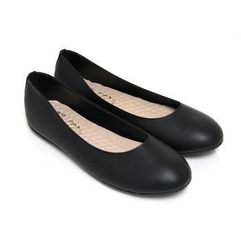 【Pretty】大尺碼-百搭素面圓頭平底娃娃鞋-黑色