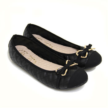 【Pretty】大尺碼-知性典雅金屬蝴蝶結拼接菱格紋平底娃娃鞋-黑色
