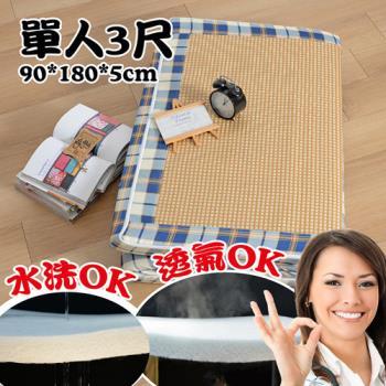 Embrace英柏絲 藍格紋 紙纖透氣床墊 單人3尺