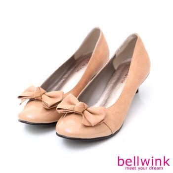 bellwink【B9005CL】蝴蝶朵結亮面皮低跟鞋-駝色