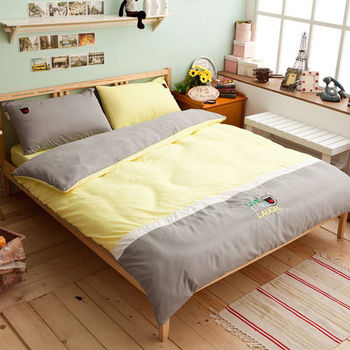 【伊柔寢飾】微笑世界 - 黃綠色 / 雙人床包組