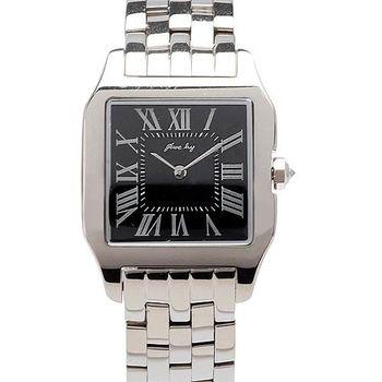 JL 星橋坦克女性方形腕錶(黑)