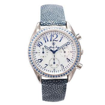 JL 時尚美學三眼鑽框腕錶 (藍)