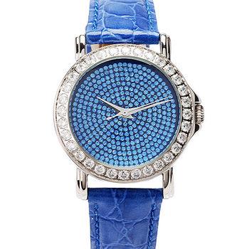 JL AN 閃亮之星方鑽錶框腕錶  (藍)