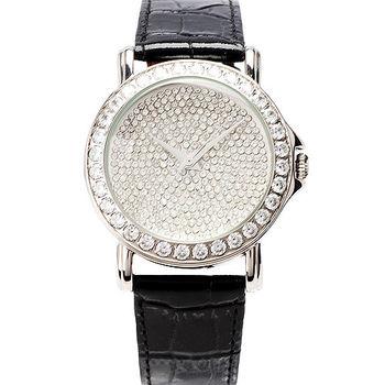 JL AN 閃亮之星方鑽錶框腕錶  (黑)