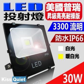 《Kiss Quiet》 質感黑(白光/黄光)30W LED投射燈全電壓探照燈-1入