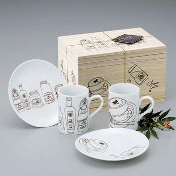 日本 maebata 美濃燒 下午茶杯盤組合 (含木盒)