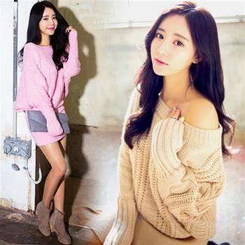 Pink東大門-正韓 針織麻花寬領口包臀洋裝(共二色)