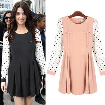 Pink東大門-點點拼袖雪紡長袖洋裝(黑、粉)