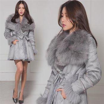 Pink東大門-正韓 絨毛翻領綁帶線條造型舖毛外套(灰)