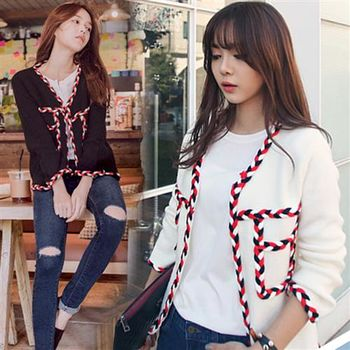 Pink東大門-編織彩繩造型開衫外套(白色)