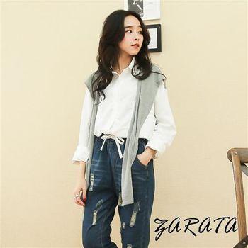【ZARATA】撞色假披肩領巾造型厚棉襯衫(灰色)