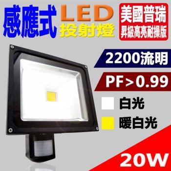 《Kiss Quiet》 質感黑(白光/黄光)20W LED感應投射燈,全電壓高PF-1入