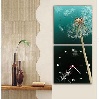【TIME ART】靜音機芯二聯式時鐘 無框畫鐘 一畫一掛鐘 50*50*3.5cm 可訂製 S2-009