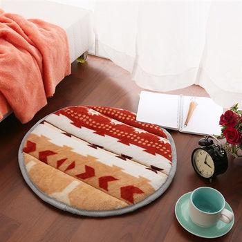 【HomeBeauty】細緻印花法蘭絨超厚款圓型地墊-直徑50cm(寶嘉康蒂)