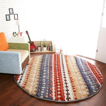 【HomeBeauty】細緻印花法蘭絨超厚款圓型特大地墊-直徑200cm(寶嘉康蒂)