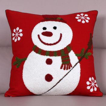 【協貿】時尚百搭聖誕節禮物毛巾繡刺雪娃娃方形抱枕含芯