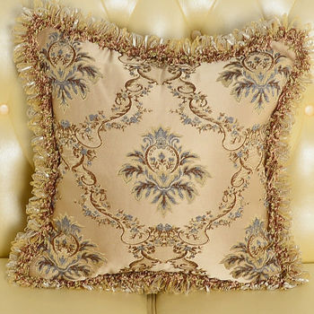 【協貿】時尚奢華布藝高檔百搭大氣藍色花抱枕含芯