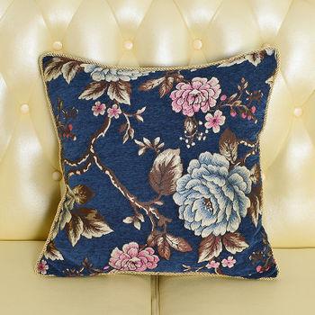 【協貿】時尚奢華布藝高檔大氣花藝藍色錦繩抱枕含芯