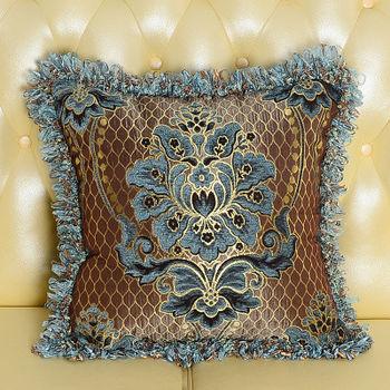 【協貿】高檔奢華歐式緹花工藝藍色抱枕含芯