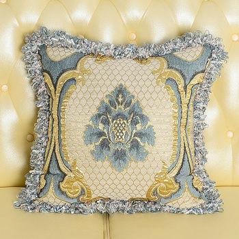 【協貿】高檔奢華歐式緹花工藝天藍色抱枕含芯