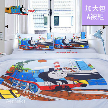 Summery_湯瑪士小火車 港口篇 加大床包兩用被四件組