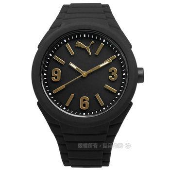 PUMA / PU103592012 / 跳躍每一刻運動矽膠腕錶 金x黑 45mm