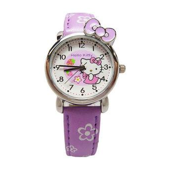 Hello Kitty 可愛俏皮蝴蝶結草莓版時尚造型腕錶-紫色-KT008LWVV-1