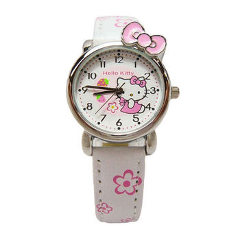 Hello Kitty 可愛俏皮蝴蝶結草莓版時尚造型腕錶-白色-KT008LWPW-1