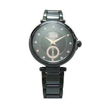 NATURALLY JOJO 晶鑽曲線美時尚陶瓷優質腕錶-黑-JO96892-88F