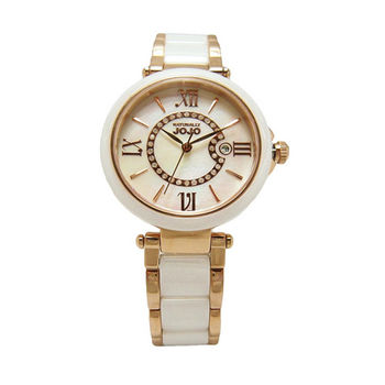 NATURALLY JOJO 浪漫羅馬城時尚陶瓷女性優質腕錶-白-JO96891-81F