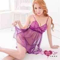 天使霓裳 睡衣 遐想愛戀 柔紗性感連身睡衣 紫F ~GS054